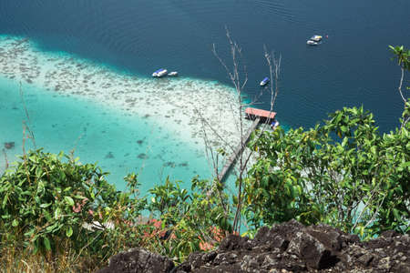 Scenic panoramic view of Bohey Dulang from top in Island Semporna, Sabah. 写真素材