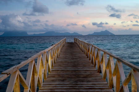 Wooden bridge during the sunset near the Bum bum island in Semporna, Borneo Sabah. 写真素材
