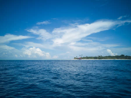 Blue sea under a beutiful sky. Dark blue and turquoise in Semporna Islands, Borneo, Sabah. 写真素材