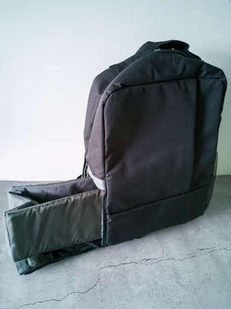 Empty gray black photo bag. Isolated on white background.