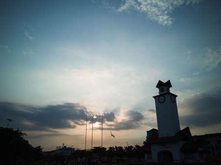Sunset behind clouds in Negeri Sembilan, Malaysia.