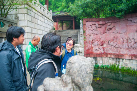 wuhan, China - April 22, 2019: Tourists at the Yellow Crane Tower area.