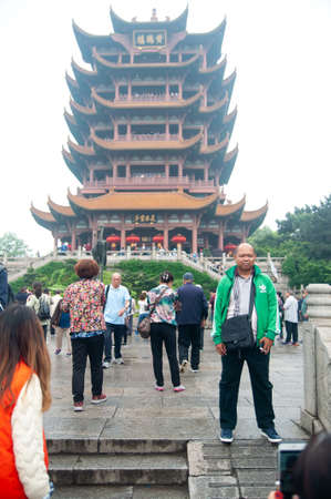 Wuhan, China - April 22, 2019:  Tourists visiting the tourist attraction areas in Wuhan City before the Coronavirus outbreak.