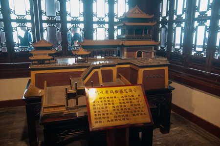 Wuhan, China - Apr 22, 2019 : Interior of the Yellow Crane Tower, the traditional Chinese multi-storey tower located on Sheshan (Snake Hill) in Wuhan, Hubei, China