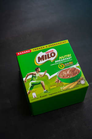 Kuala Lumpur, Malaysia - Nov 7 2020: Nestlé Milo breakfast energy drink. Come in two flavours, banana and combination of sunflowers and pumpkin seeds.