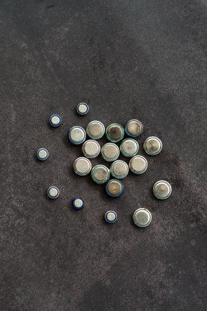 Old lithium batteries leak isolated / Hazardous waste concept Reklamní fotografie