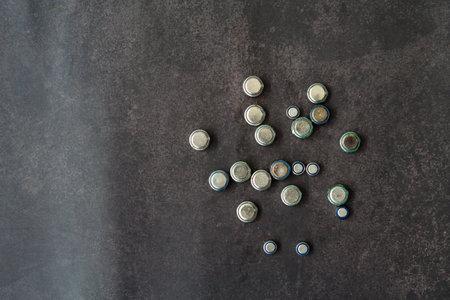 Old lithium batteries leak isolated / Hazardous waste concept