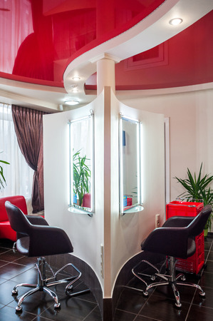 Beauty Salon, arm-chair and mirror.
