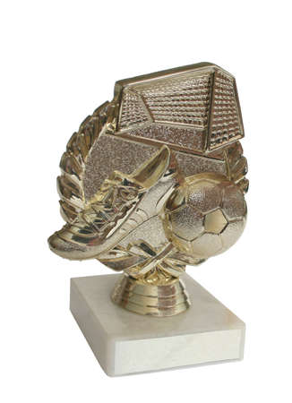 Trophy or medal on isolated Whitefootball . Cup with plinths and box text   photo
