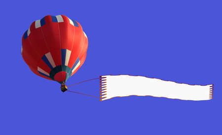 3D render of a  airship pulling a blank banner, photo-collage photo