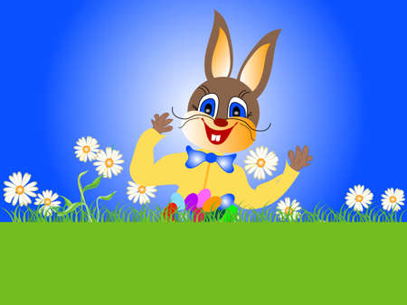 interact: Merry easter bunny with colorful eggs in grass, sample for text Illustration