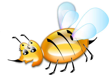 Illustrations yellow bee, object white isolated, vector