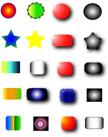 Page free colors buttons for web, white isolated Vector