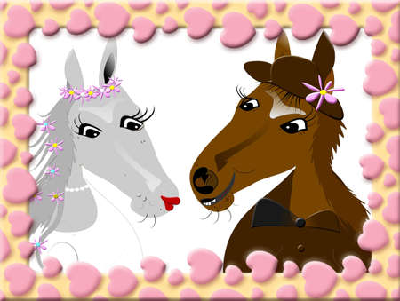Two horses, wedding, postcard with pink hearts