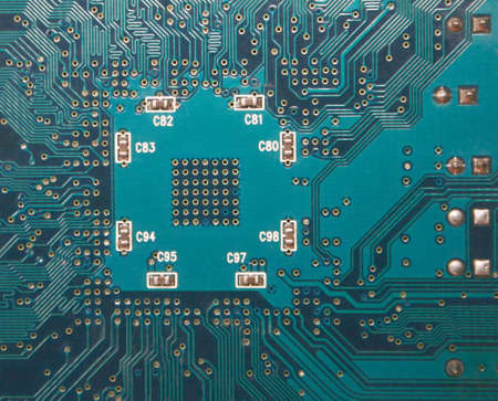 Blue electronic circuit close-up. Macro background Reklamní fotografie