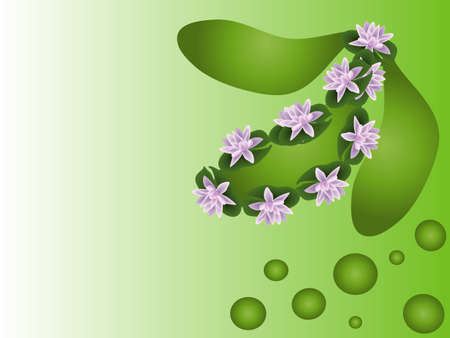 lila: waterlilies, green and lila rose background, place for yours text Illustration