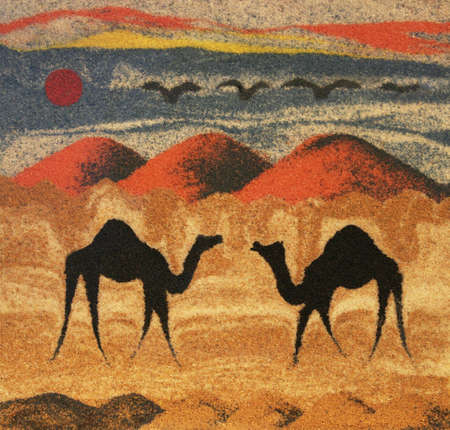 texture backgrounds, drawing nature sand dune with camels, orient photo