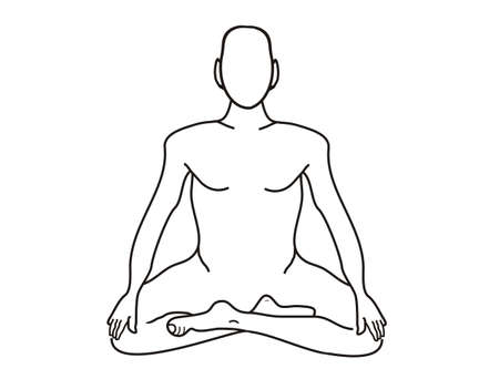 Meditation, the concept for your text and add items, drawing from his hand, white isolated         Stock Photo
