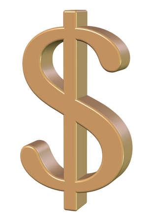 dollar, gold metallic on a white background