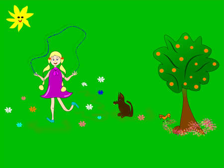 girl with skipping-rope and dog with appletree..  photo