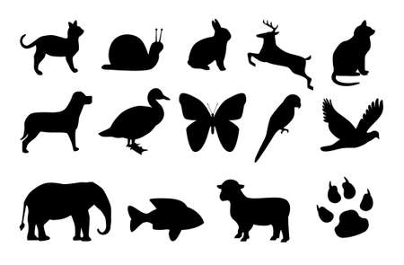 Nine animals in black silhouettes. Available as Illustrator-File, computers generated