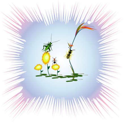 곤충 그림 꽃과 프레임, jpg 스톡 콘텐츠
