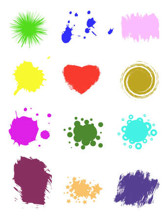 Collection shape, set colors spots, isolated background,