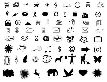 Illustration collection symbols, black, background white isolated illustration