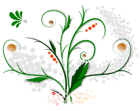 Scroll, illustrations backround floral, version colors Stock Illustration - 4522527