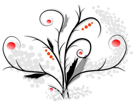 Scroll, floral illustration, hand drawing illustration