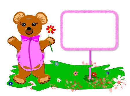Teddy bear for baby, verison girl, frame sample text, Stock Photo - 4522535