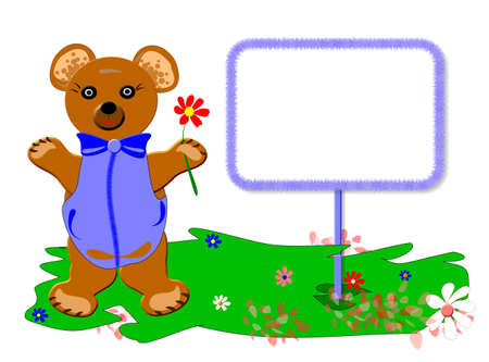 Teddy bear for baby version boys, frame sample text, isolated Stock Photo - 4522536