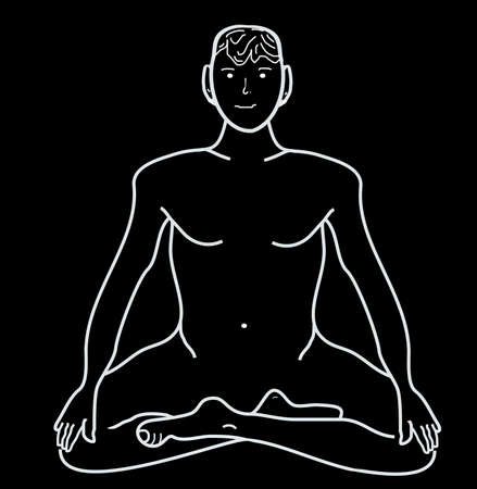 Meditation, the concept for your text and add items, drawing from his hand, white isolated         Stock Photo - 4548061