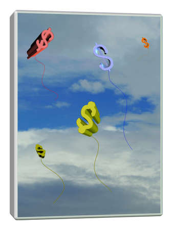 Financial concept, photo collage and ilustration background with air money symbols, frame (sky and font by my copyright :) photo