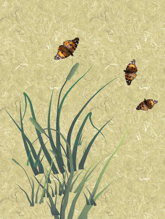 plantlife: texture background with grass cigars and butterflies