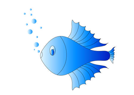 Blue fish, object white isolated