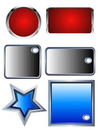 illustration Colors Buttons with metal borders, isolated and place for your text Vector