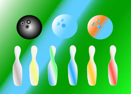 skittles: background with bowling balls and set skittles
