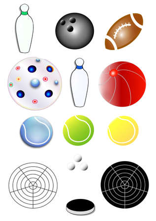 tennisball: collection of sports equipment, white background