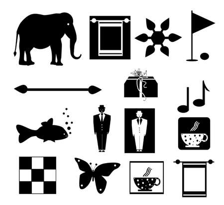 symbols set, object white isolated photo