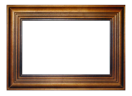 Old classic wooden brown frame, object white isolated, place for photo and text Stock Photo