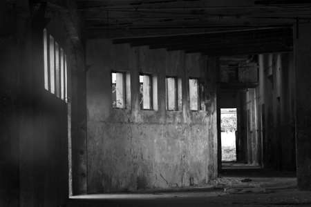 Abandoned store house hall, black and white photo