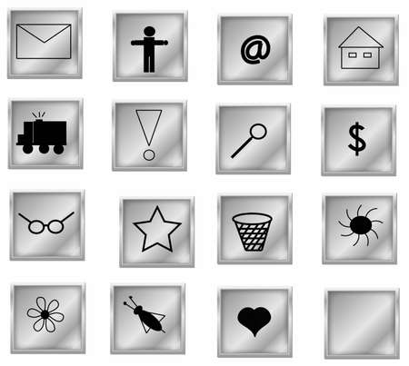 symbols collection, objects white isolated photo