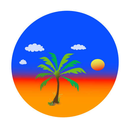 Summer theme with palm tree, version with white background