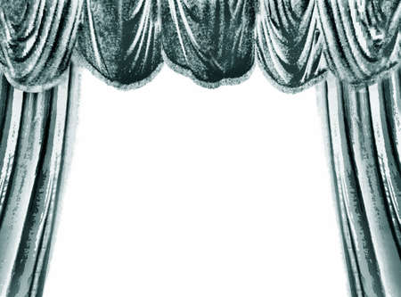 stage set: Turquoise theater curtain, white place for your text