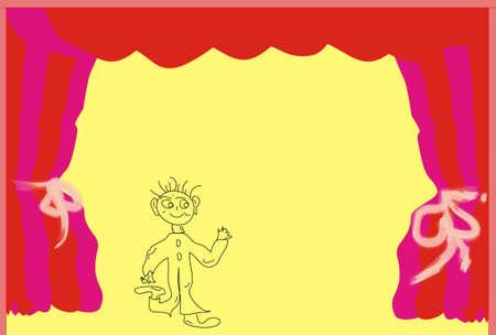 place for children: Colores Fairytale teatro para ni�os, lugar de texto Foto de archivo