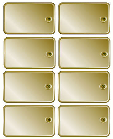 Gold metal set price tags screw to frame for text Stock Photo - 5118895