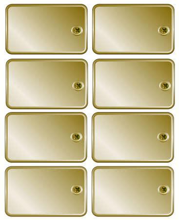 ferreteria: Metal oro establece tornillo de etiquetas de precio al marco de texto