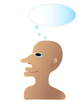 Caricature Man thinking alone, with frame  bubble for thoughts with text above his head.  photo