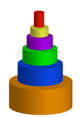 colorful pyramid, 3d image, conceptual 5 layers hierarchy pyramid Stock Photo